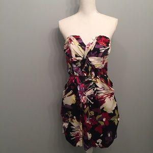 ABSAllen Schwartz Bold Floral Print Cocktail Dress
